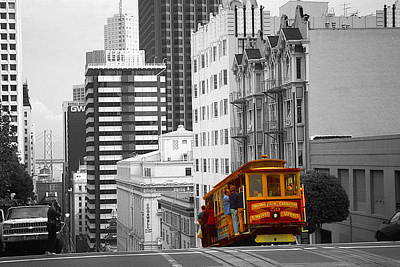 Photograph - San Francisco - Red Cable Car by Art America Gallery Peter Potter