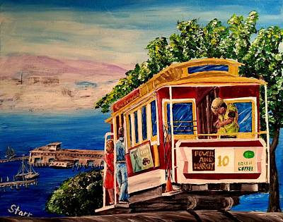 Alcatraz Painting - San Francisco Cable Car by Irving Starr