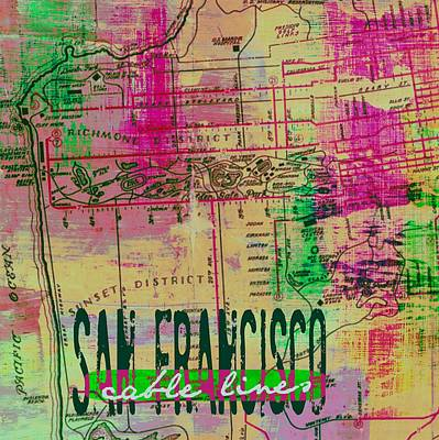 Bay Area Mixed Media - San Francisco Cable Lines V2 by Brandi Fitzgerald