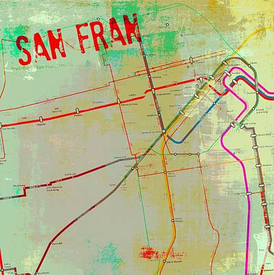 Bay Area Mixed Media - San Francisco Cable Lines V3 by Brandi Fitzgerald