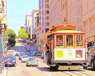 Photograph - San Francisco Cablecar Coming Down Powell Street by San Francisco Art and Photography