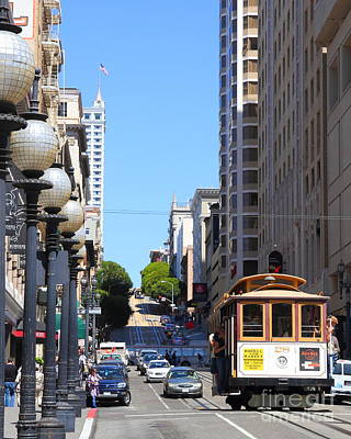 San Francisco Cablecar On Powell Street Print by Wingsdomain Art and Photography