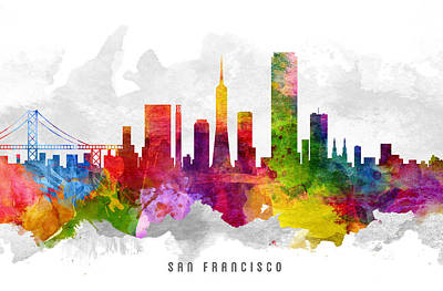 San Francisco California Cityscape 13 Art Print by Aged Pixel