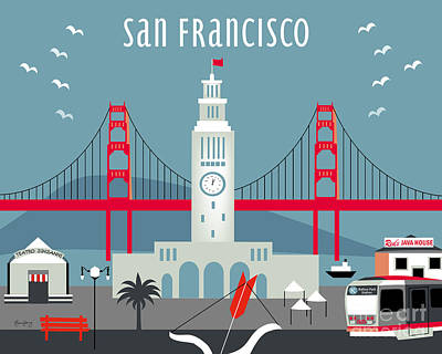 San Francisco Embarcadero Digital Art - San Francisco California Horizontal Skyline - Ferry Building by Karen Young