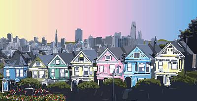 Digital Art - San Francisco, California Painted Ladies Houses by Inge Lewis