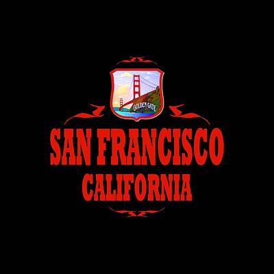 Buy Tshirts Tapestry - Textile - San Francisco California Tshirt Design by Art America Gallery Peter Potter