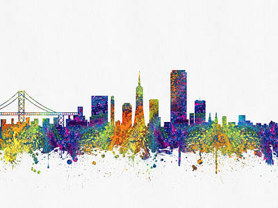 Towns Digital Art - San Francisco California Skyline Color03 by Aged Pixel
