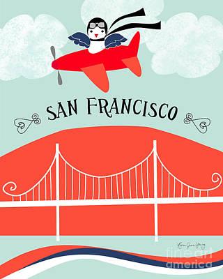 Bay Area Digital Art - San Francisco California Vertical Scene - Bird In Plane Over San Francisco by Karen Young
