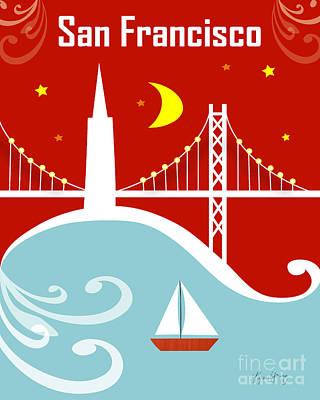 Bay Area Digital Art - San Francisco California Vertical Scene - East Bay Bridge And Boat by Karen Young