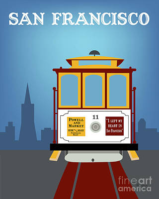Trolley Digital Art - San Francisco California Vertical Skyline - Downtown Cable Car by Karen Young