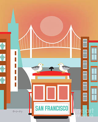 Trolley Digital Art - San Francisco California Vertical Skyline - Seagulls On Trolley by Karen Young