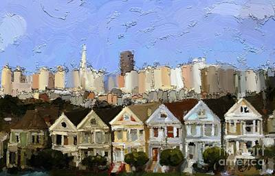 Victorian Town Digital Art - Painted Ladies by Carrie Joy Byrnes
