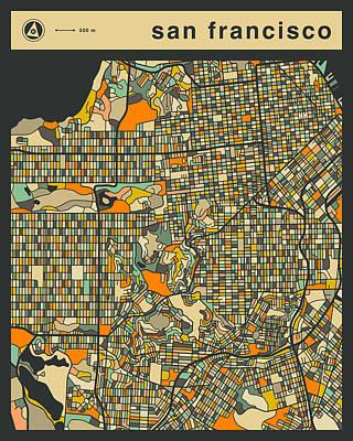 San Francisco City Map Print by Jazzberry Blue