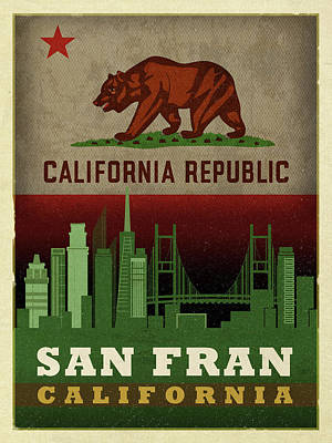 Skyline Mixed Media - San Francisco City Skyline State Flag Of California Art Poster Series 019 by Design Turnpike