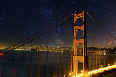 Photograph - San Francisco City Skyline Through Golden Gate Bridge by David Gn