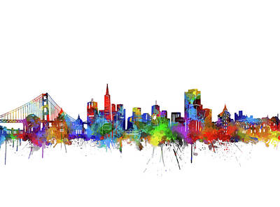 Digital Art - San Francisco City Skyline Watercolor by Bekim Art