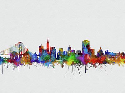 Digital Art - San Francisco City Skyline Watercolor2 by Bekim Art