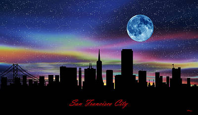 Day Of The Dead Inspired Paintings - San Francisco City Twilight Skyline by Gregory Murray