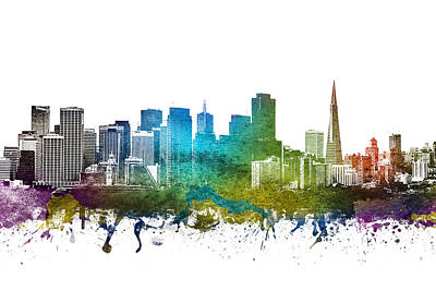 Skylines Drawing - San Francisco Cityscape 01 by Aged Pixel