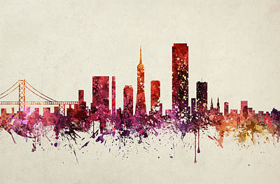 Skylines Drawings - San Francisco Cityscape 09 by Aged Pixel