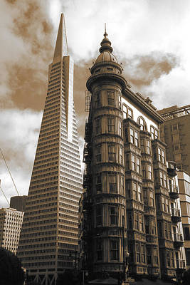 Photograph - San Francisco - Columbus Tower And Pyramid by Art America Gallery Peter Potter