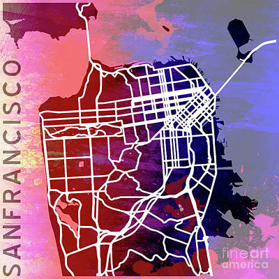Pop Art Royalty-Free and Rights-Managed Images - San Francisco by Delphimages Photo Creations