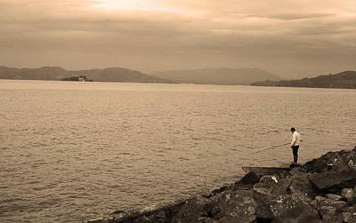 Brown Tones Photograph - San Francisco Fisherman Sepia by Frank Romeo