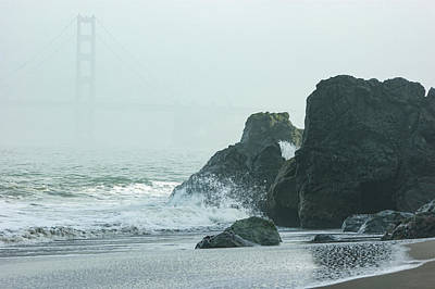 Painting - San Francisco Fog - Golden Gate Bridge Emerging From The Milky Mists by Georgia Mizuleva