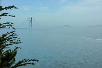 Painting - San Francisco Fog - Pale Blue Golden Gate Bridge View by Georgia Mizuleva