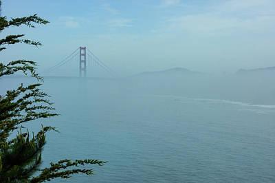 Painting - San Francisco Fog - Pale Blue Golden Gate Bridge View by Georgia Mizuleva