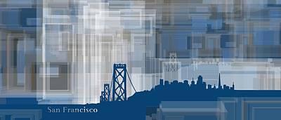 Geometric Art Digital Art - San Francisco Gemetric Mist Skyline by Alberto RuiZ