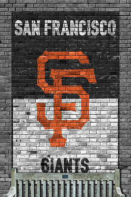 Baseball Painting - San Francisco Giants Brick Wall by Joe Hamilton