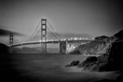 White River Scene Photograph - San Francisco Golden Gate Bridge And Baker Beach Monochrom by Melanie Viola