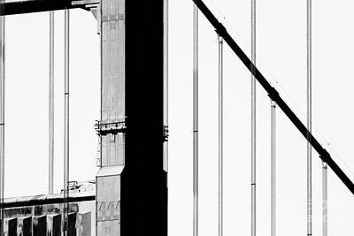 Wings Domain Photograph - San Francisco Golden Gate Bridge . Black And White Photograph . 7d7954 by Wingsdomain Art and Photography