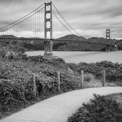 Photograph - San Francisco Golden Gate Bridge - Black And White Square Art by Gregory Ballos