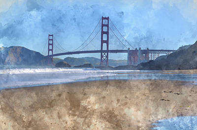 San Francisco Golden Gate Bridge In California Art Print