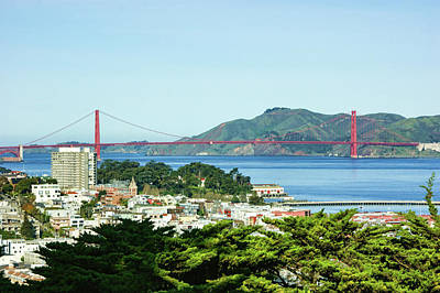 Painting - San Francisco Golden Gate Bridge Panorama by Georgia Mizuleva
