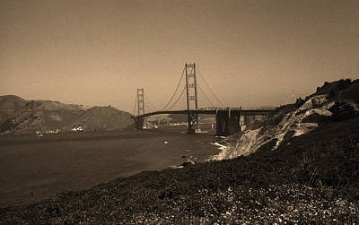 Brown Tones Photograph - San Francisco - Golden Gate Bridge Sepia by Frank Romeo