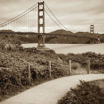 Photograph - San Francisco Golden Gate Bridge - Sepia Square Art by Gregory Ballos