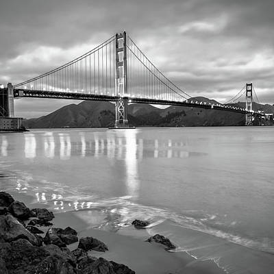 Photograph - San Francisco Golden Gate Square Art - Black And White by Gregory Ballos
