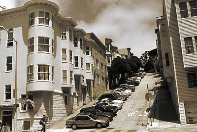 Photograph - Old San Francisco Photo - Hill Parking by Art America Gallery Peter Potter