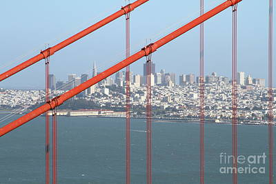 Photograph - San Francisco In The Distance Through The Golden Gate Bridge 7d14538 by San Francisco Art and Photography