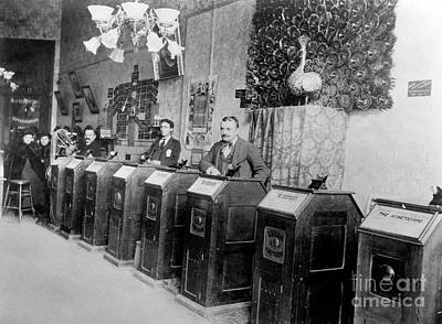 Invention Of Motion Photograph - San Francisco Kinetoscope Parlor, 1895 by Science Source