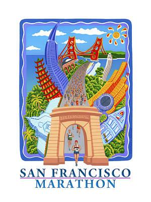 Painting - San Francisco Marathon Dream by Phil Dynan