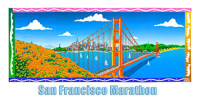 Painting - San Francisco Marathon Panorama by Phil Dynan