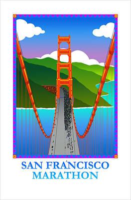 Painting - San Francisco Marathon - Tower View by Phil Dynan