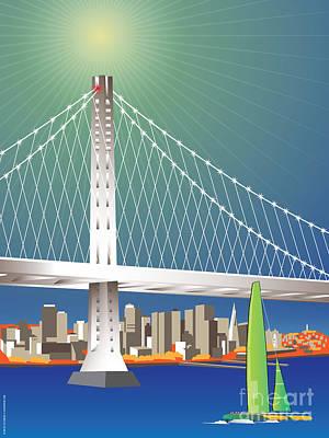 San Francisco New Oakland Bay Bridge Cityscape Art Print