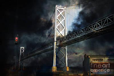 San Francisco Nights At The Bay Bridge . 7d7748 Print by Wingsdomain Art and Photography