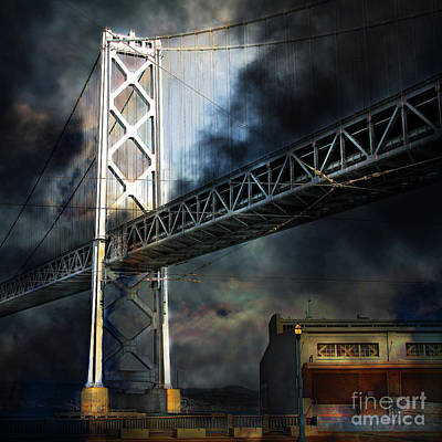 San Francisco Nights At The Bay Bridge 7d7748 Square Print by Wingsdomain Art and Photography