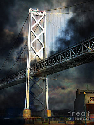 San Francisco Nights At The Bay Bridge 7d7748 Vertical Print by Wingsdomain Art and Photography